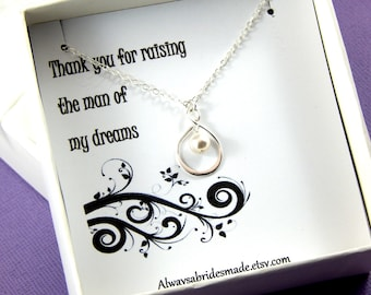 Mother Of The Groom Necklace Gift, Mother of the Groom Necklace, Gift Boxed Jewelry, Thank You Gift, Infinity Pearl Necklace