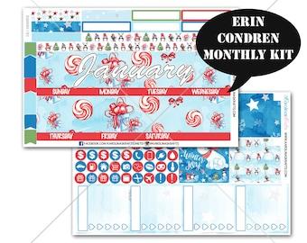 Winter Stickers MONTHLY Planner Kit, for Erin Condren Planner, Life Planner Sticker, Monthly Sticker Kit, Christmas #SQ00053-EC