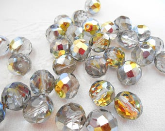 A set of 6 beads faceted 12 mm silver AB Czech glass (antique Silver AB)
