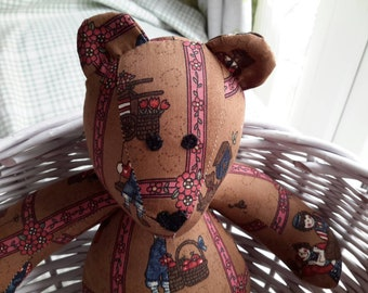 Small Teddy Bear - Darker Brown with printed Ragdolls & Heart Nose