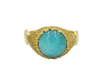 Amazonit Gelassenheit Ring, große Edelstein-Ring, Aussagering, Ring Amazonit, friedliche Ring, 10mm Edelstein-Ring, Pastell Ring, Grobstrick