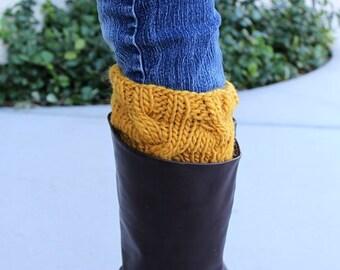 Thick Knit Boot Cuffs, Knit Boot Socks, Boot Toppers, Women's Boot Socks, Knit Leg Warmers, Womens Accessories, Knitted Cuffs, Orange