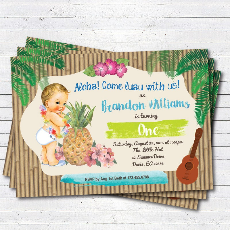 Hawaiian Luau boy 1st first birthday invitation. Vintage baby