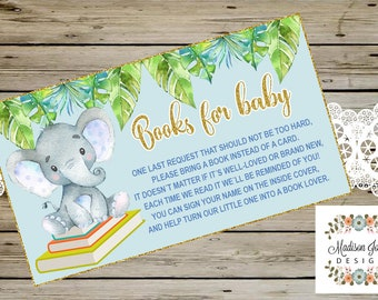 BOOK REQUEST Baby Shower CARD, Books for Baby, Watercolor Elephant, Tropical leaves, Blue & Gold Glitter, Digital Printable Instant Download