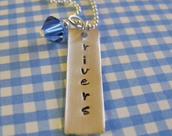 personalized bar necklace with birthstone