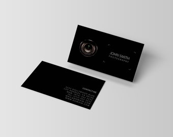 Black business card etsy black photography lens viewfinder business cards template psd instant download for photographers reheart Image collections