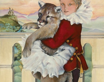 Christmas Card, Mountain Lion, Animal Holiday Card, Greeted Christmas Card, Dress Rehearsal, Cougar