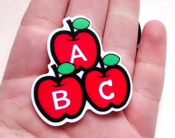 1/3 pieces teacher cabochon - ABC cabs - Apple - School - thank you gift - jewellery making - decoden crafts  - pendants