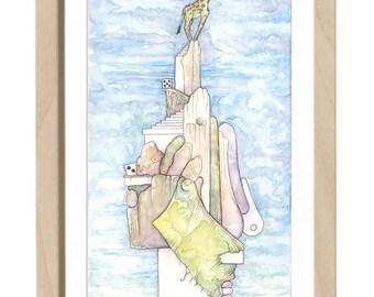 Happy giraffe, sad lion - Original watercolor - 7.9″x14.6″