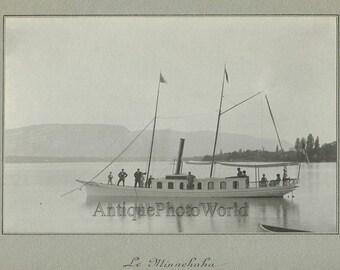 Beautiful steam sail boat schooner on a lake Le Minnehaha antique photo