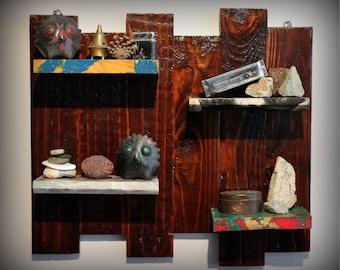 "Handmade, Bohemian, Reclaimed Wood, Wall Hanging Shelves - ""Psych Farmhouse"" - VWC Cosmic Range - Psychedelic Art, Farmhouse Decor"