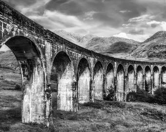 Glenfinnan Viaduct - Black and White, Scotland, UK, Landscape, Railway, Architecture, Scottish Scenery, Noir, Fine Art Photography