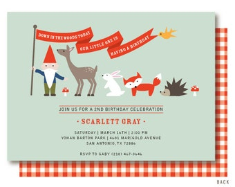 Woodland Birthday Invitations, Gingham, Woodland Birthday, Gnome