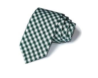 Hunter Green Gingham Necktie~Anniversary Gift~Wedding Tie~Mens Gift~Boys Necktie~Mens Necktie~Wedding~HoBo Ties~Mens Tie~Hunter Tie