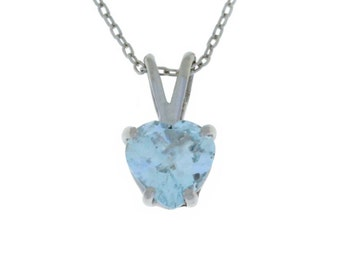 Aquamarine Heart Pendant .925 Sterling Silver