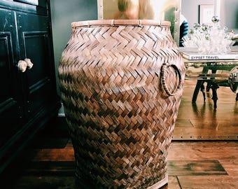 Vintage Oversized Rattan Basket / Boho Storage Basket / Extra Large Blanket Basket