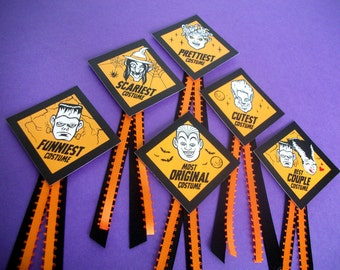 Halloween Costume Award Badges, cute monster prize Halloween contest ribbon badges, Frankenstein Bride Witch Medusa Werewolf Vampire