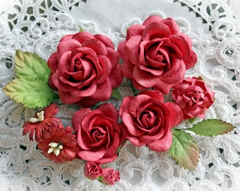 Reneabouquets Roses And Leaves Flower Set-Mulberry Paper Flowers -Red Currant Set Of 13 Pieces In Organza Storage Bag