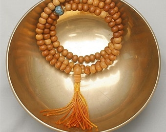 Sandalwood Mala with Golden Czech Glass and  Blue Ceramic Beads