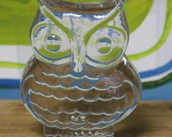 Vintage  Glass OWL  Figurine 1960s