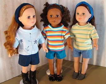 "Birthday Party Favors Package of 10 Short & 10 T-Shirt!; for American Girl Style 18"" Dolls! School or Playground Doll Clothes"