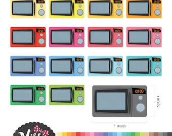 30 Colors Microwave Clipart - Instant Download
