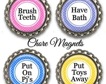 Fridge Kitchen Chore Magnets Kids Teens Tween Adults Assorted Colors