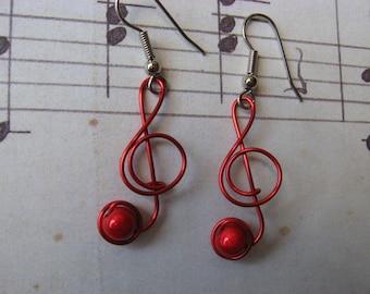 RED Musik NOTE Ohrringe Draht gewickelt