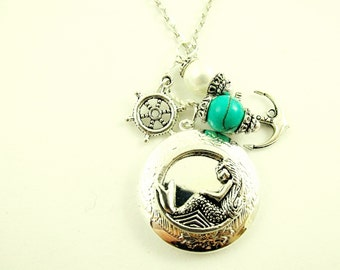 Silver Locket Necklace,  Nautical Mermaid Locket  With Pearl and Turquoise Bead,  Silver Charms Womens Gift  Handmade