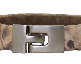 Python Bracelet, Python Cuff, BAJ 496 S Taupe Matte