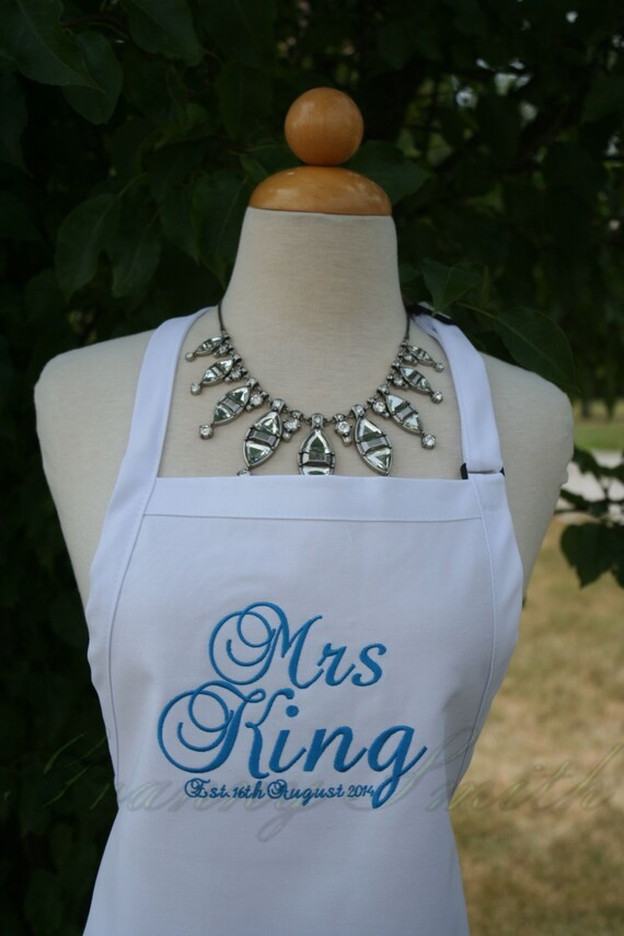 """The """"Mrs"""" Apron with """"Estd. date"""" & NO Pockets your color choice bow or no (28""""L x 24""""W) spring beach, island, pastel, baby blue, robbin egg"""