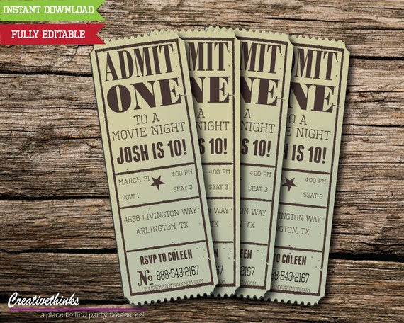 It is a graphic of Current Free Printable Movie Ticket Invitations