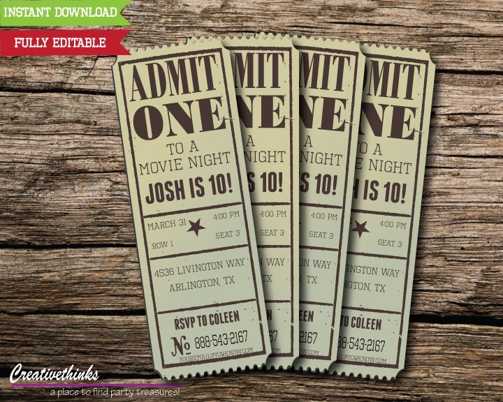 Invitation Template Movie Ticket.  zoom Editable Vintage Movie Ticket Invitation Digital File