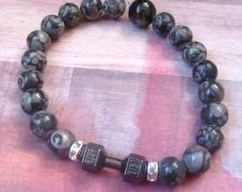 Fitness, Gym Barbell Stretch Beaded Bracelet with Sparkle and Gray Marble Beads