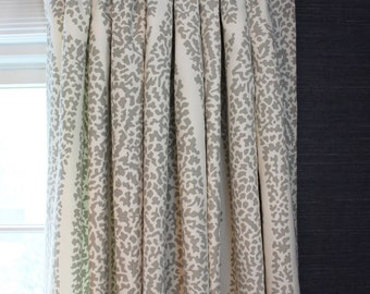 Schumacher Ambala Paisley Drapes (shown in Fog-also comes in Greige, Ash and Oyster)