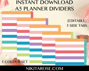 A5 Planner Dividers   Rainbow Stripes   5 Side Tabs   Text Editable   Cut Away Rounded Tabs   Printable   Brights   Organiser   5 Colours