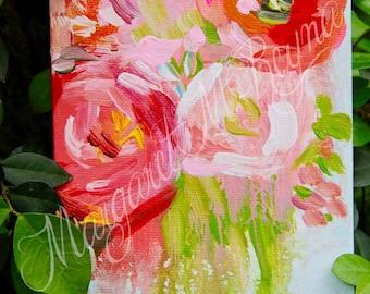 "Abstract Floral Original Canvas Art - ""Unfolding Love"""