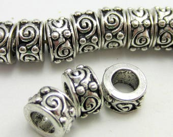 24 Antique silver beads metal spacers tibetan style  jewelry supplies silver rondelle beads large hole  8S815 (R6),