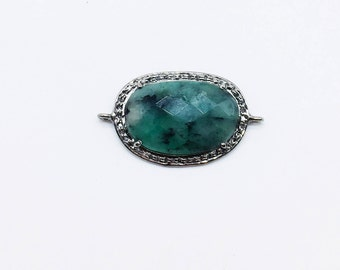 Antique Style Handmade Charm Pendant set in .925 Sterling Silver with Emerald Gemstone with Double Loop