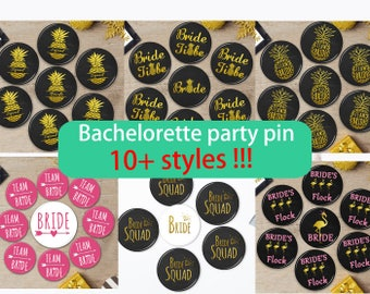 Bride Squad Pins, Bachelorette Party pins, Hen Night Badges, Bride Button,Black and Gold Badges,Last Fling,Bright White,Classy Bridal Shower