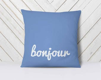 French Decor Pillows, Good Morning Pillow, Paris Bedroom Decor for Girls, Bonjour Pillow, French Throw Pillows // 6 colors