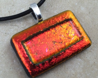 Layered Dichroic Necklace, Glass Jewelry, Fused Glass Jewelry, Dichroic Pendant, Dichroic Glass Jewelry, Red Orange Dichroic -HEA246