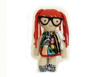 Rag doll handmade-Hypatia-rag doll-math girl