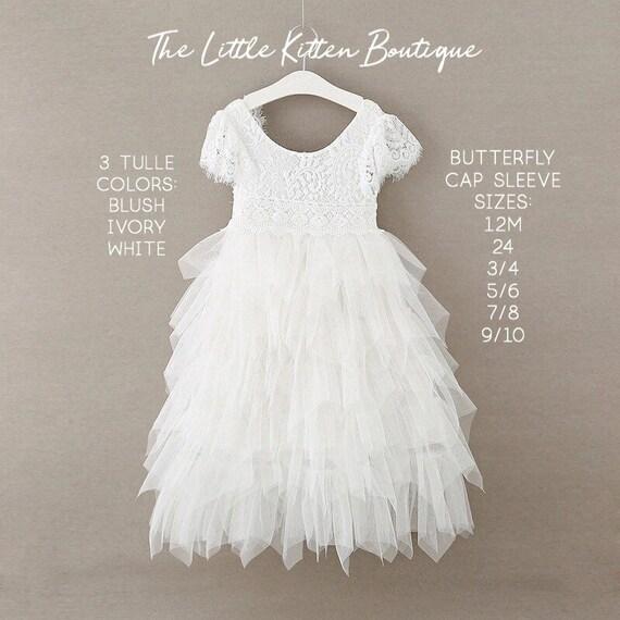 White Flower Girl Dress, Ivory Flower Girl Dress, Blush Flower Girl Dress, Lace Flower Girl Dress, Tulle Flower Girl Dress Bridesmaids Dress