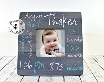ON SALE Birth Information Picture Frame, New Born Baby Gift, New Parents Gift, Nursery Decor, Gift For New Baby, Gift For New Parents