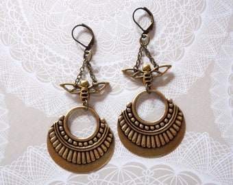 Antique Brass Art Deco Insect Earrings (4487)