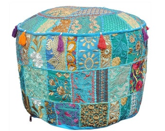 """Indian Living Room Pouf, Foot Stool, Round Ottoman Cover Pouf,Traditional Handmade Decorative Patchwork Ottoman Cover,18X13"""""""