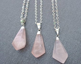 Rose Quartz Point Pendant /Tumbled Rose Quartz Silver / Pink Stone Necklace Fancy Point Love Stone/Genuine Rose Quartz Pendant //GP42