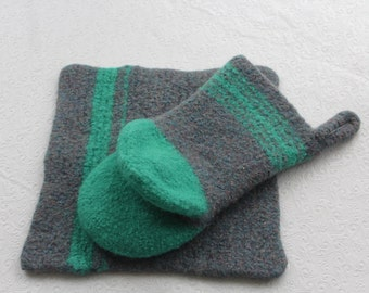 Gray and Seafoam Wool Oven Mitt Set, Wool Felt Pot Holder Set, Wool Oven Glove, Oven Mitt Hot Pad Set, Green Oven Mitt, Gray Felt Mitt, Gift