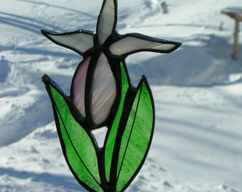 lady slipper stained glass suncatcher